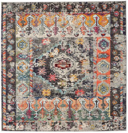 Cassiopeia - Vintage Teppich  200X200 Moderner Quadratisch Hellgrau/Schwartz ( Türkei)