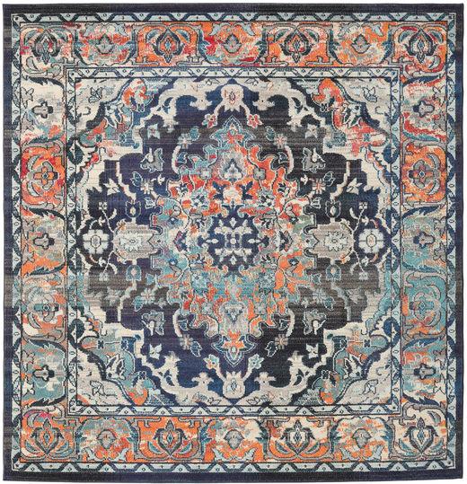 Elnath Teppich  250X250 Moderner Quadratisch Hellgrau/Schwartz Großer ( Türkei)