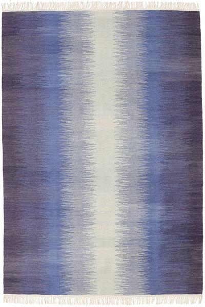 Ikat - Dunkel Blau Teppich  140X200 Echter Moderner Handgewebter Lila/Hellgrau/Helllila (Wolle, Indien)