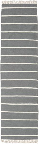 Dorri Stripe - Grau Teppich  80X300 Echter Moderner Handgewebter Läufer Hellgrau/Dunkelgrau (Wolle, Indien)