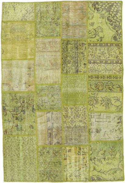 Patchwork Teppich  138X205 Echter Moderner Handgeknüpfter Hell Grün/Olivgrün (Wolle, Türkei)