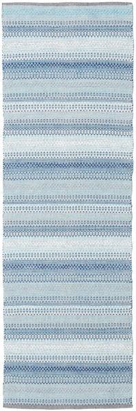 Wilma - Blau Teppich  80X250 Echter Moderner Handgewebter Läufer Hellblau/Beige (Baumwolle, Indien)
