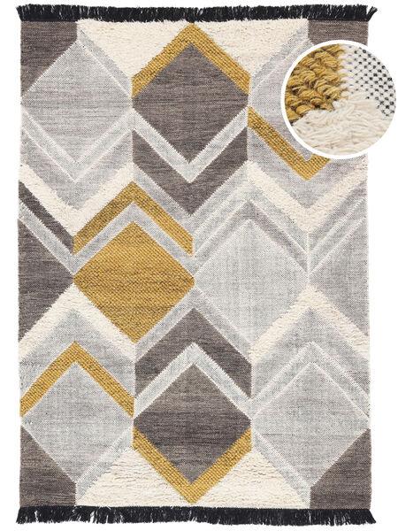 Silvana - Gold Teppich  160X230 Echter Moderner Handgewebter Hellgrau/Dunkel Beige (Wolle, Indien)