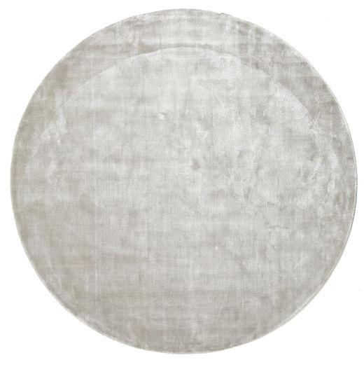 Broadway - Silber Weiß Teppich  Ø 200 Moderner Rund Hellgrau ( Indien)