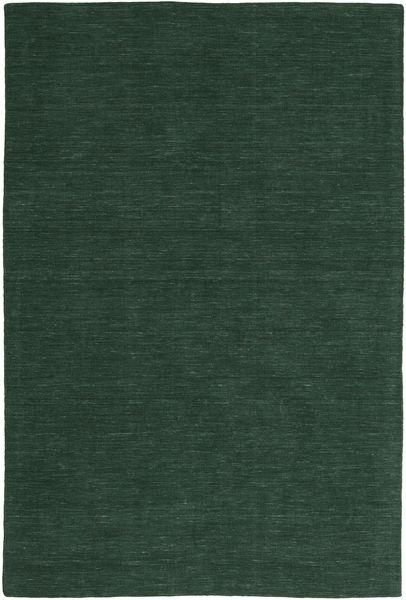 Kelim Loom - Waldgrün Teppich  200X300 Echter Moderner Handgewebter Dunkelgrün (Wolle, Indien)