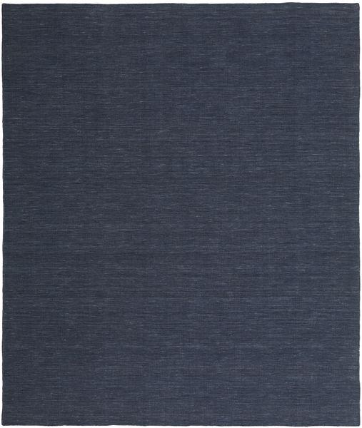Kelim Loom - Denim Blau Teppich  250X300 Echter Moderner Handgewebter Dunkelblau/Blau Großer (Wolle, Indien)