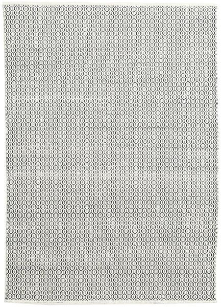 Alva - Weiß/Schwarz Teppich  160X230 Echter Moderner Handgewebter Hellgrau/Dunkelgrau (Wolle, Indien)