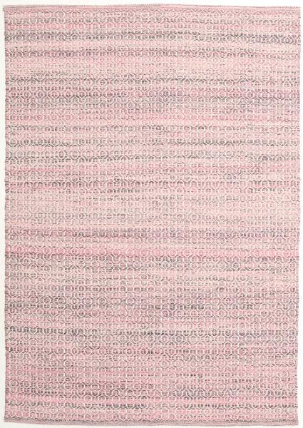 Alva - Rosa/Weiß Teppich  140X200 Echter Moderner Handgewebter Hellrosa/Helllila (Wolle, Indien)