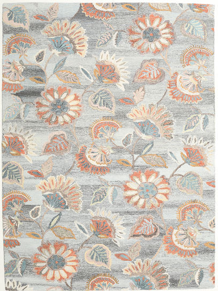 Rusty Flowers - Grau/Rost Teppich  200X300 Moderner Hellgrau/Dunkel Beige (Wolle, Indien)