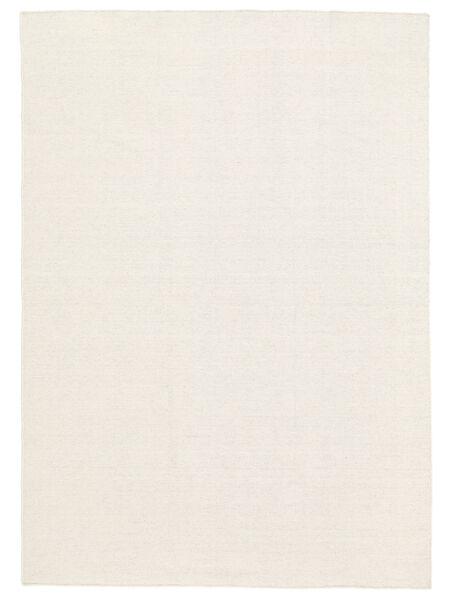 Kelim Loom - Naturweiß Teppich  140X200 Echter Moderner Handgewebter Beige (Wolle, Indien)