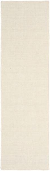 Kelim Loom - Naturweiß Teppich  80X300 Echter Moderner Handgewebter Läufer Beige (Wolle, Indien)