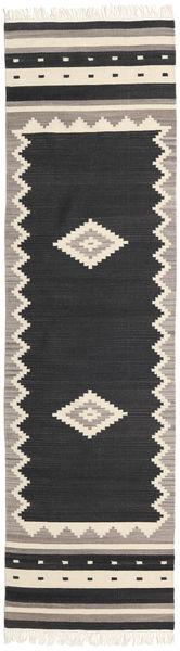 Tribal - Schwarz Teppich  80X300 Echter Moderner Handgewebter Läufer Schwartz/Hellgrau (Wolle, Indien)