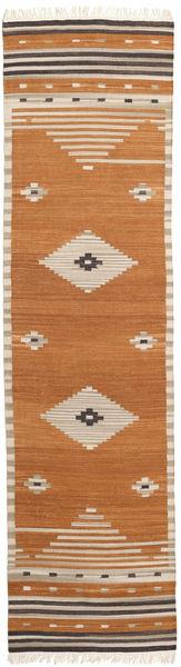 Tribal - Senfgelb Teppich  80X300 Echter Moderner Handgewebter Läufer Braun/Hellbraun/Beige (Wolle, Indien)