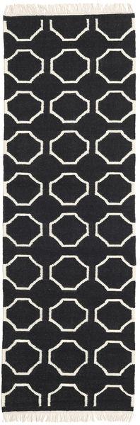 London - Schwarz/Naturweiß Teppich  80X350 Echter Moderner Handgewebter Läufer Schwartz/Beige (Wolle, Indien)