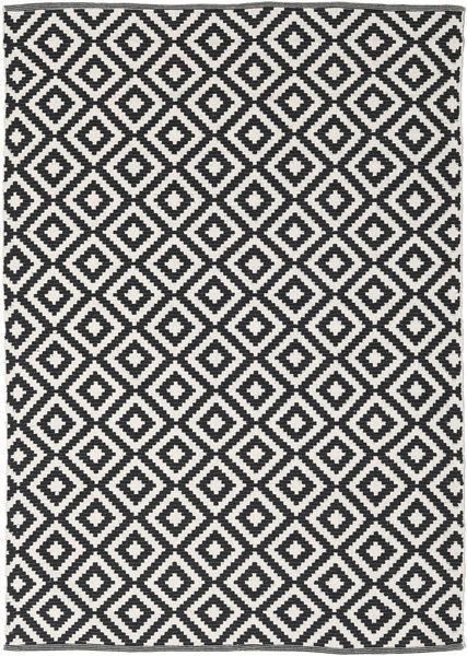 Torun - Schwarz/Neutral Teppich  140X200 Echter Moderner Handgewebter Schwartz/Hellgrau (Baumwolle, Indien)