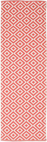 Torun - Coral/Neutral Teppich  80X300 Echter Moderner Handgewebter Läufer Rot/Hellrosa (Baumwolle, Indien)