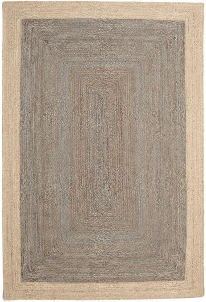 Outdoor-Teppich Frida Frame - Grau/Natural Teppich  200X300 Echter Moderner Handgewebter Hellgrau/Beige (Jute-Teppich Indien)