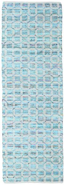 Elna - Bright_Blue Teppich  80X350 Echter Moderner Handgewebter Läufer Hellblau/Türkisblau (Baumwolle, Indien)