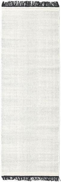 Barfi - Schwarz/Weiß Teppich  80X350 Echter Moderner Handgewebter Läufer Hellgrau/Beige (Wolle, Indien)