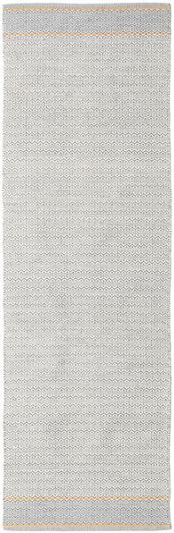 Norma - Gelb Teppich  80X350 Echter Moderner Handgewebter Läufer Hellgrau/Weiß/Creme (Baumwolle, Indien)