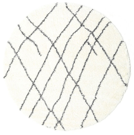 Shaggy Tangier - Weiß/Dunkelgrau Teppich  Ø 200 Moderner Rund Beige/Weiß/Creme ( Türkei)