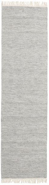 Melange - Grau Teppich  80X400 Echter Moderner Handgewebter Läufer Hellgrau (Wolle, Indien)