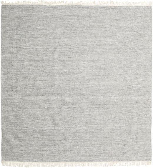 Melange - Grau Teppich  200X200 Echter Moderner Handgewebter Quadratisch Hellgrau (Wolle, Indien)