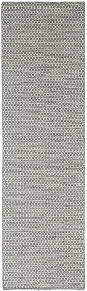 Kelim Honey Comb - Grau Teppich  80X440 Echter Moderner Handgewebter Läufer Dunkelgrau/Hellgrau (Wolle, Indien)