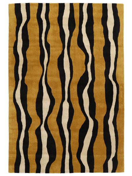 Tigre - Gold/Beige Teppich  200X300 Moderner Schwartz/Braun (Wolle, Indien)