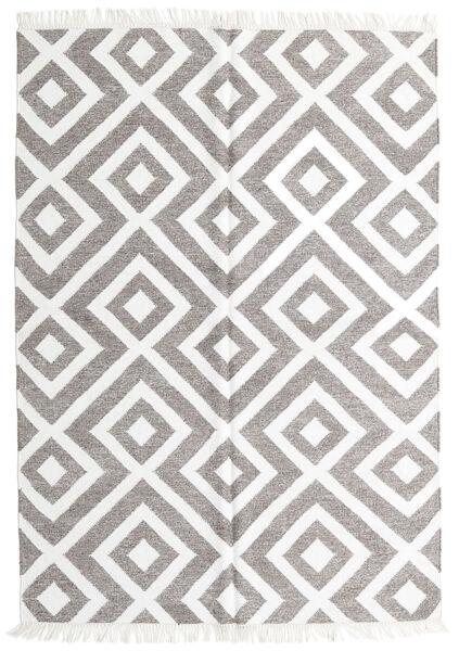 Bambus Seide Kelim Teppich  140X200 Echter Moderner Handgewebter Hellgrau/Weiß/Creme (Wolle/Bambus-Seide, Indien)