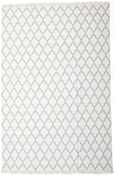 Bambus Seide Kelim Teppich  200X300 Echter Moderner Handgewebter Weiß/Creme/Beige/Hellgrau (Wolle/Bambus-Seide, Indien)