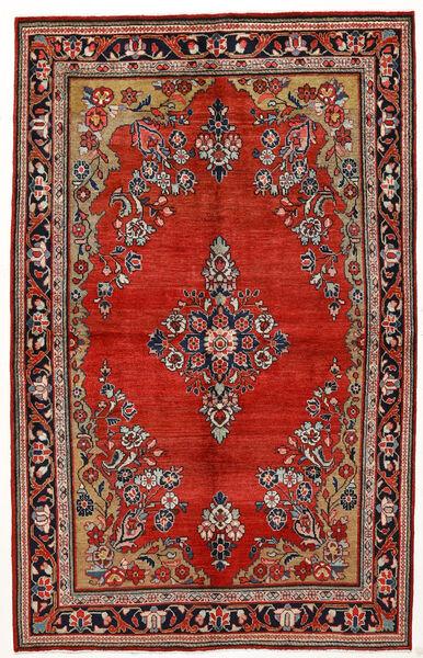 Sarough Teppich  144X230 Echter Orientalischer Handgeknüpfter Dunkelrot/Rost/Rot (Wolle, Persien/Iran)