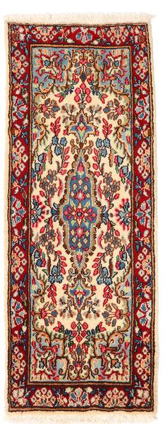 Kerman Teppich  57X145 Echter Orientalischer Handgeknüpfter Läufer Dunkelrot/Beige (Wolle, Persien/Iran)