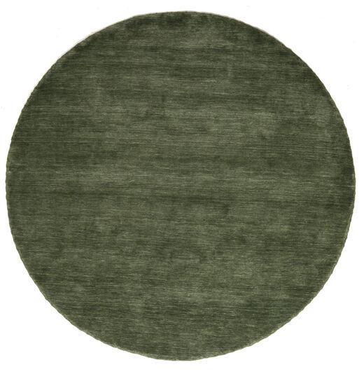 Handloom - Waldgrün Teppich  Ø 200 Moderner Rund Dunkelgrün (Wolle, Indien)