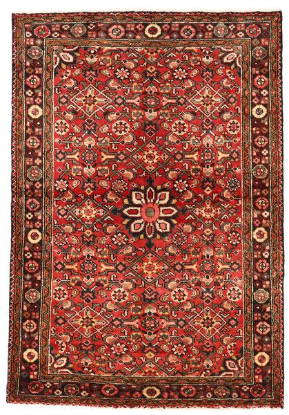 Hosseinabad Teppich  113X163 Echter Orientalischer Handgeknüpfter Dunkelrot/Rost/Rot (Wolle, Persien/Iran)