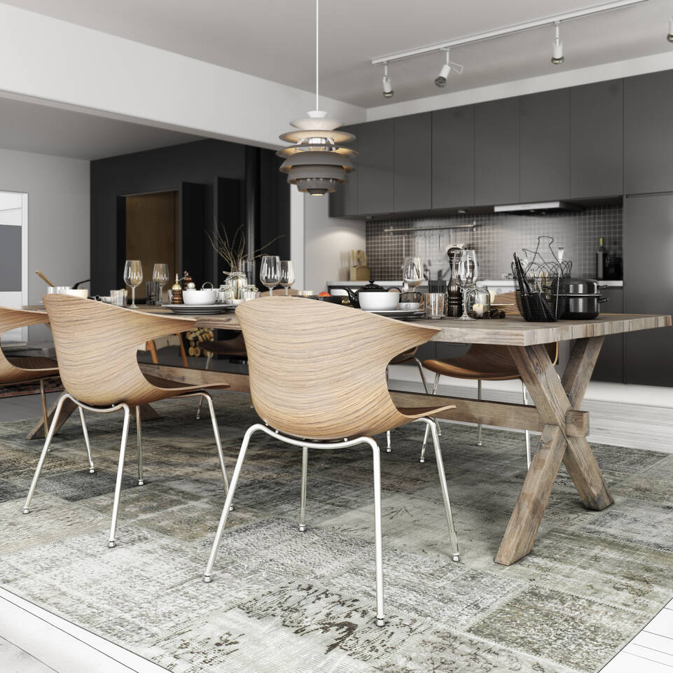 Schwarzer / grauer längliche Patchwork - turkiet - Teppich in einem Küche