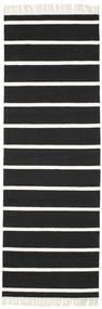 Dorri Stripe - Schwarz/Weiß Teppich  80X250 Echter Moderner Handgewebter Läufer Schwartz/Weiß/Creme (Wolle, Indien)