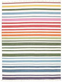 Rainbow Stripe - Weiß Teppich  200X250 Echter Moderner Handgewebter Beige/Weiß/Creme (Baumwolle, Indien)