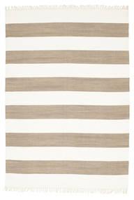 Cotton Stripe - Braun Teppich  160X230 Echter Moderner Handgewebter Hellgrau/Weiß/Creme (Baumwolle, Indien)