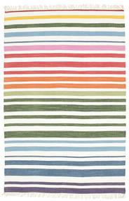 Rainbow Stripe - Weiß Teppich  140X200 Echter Moderner Handgewebter Weiß/Creme/Beige (Baumwolle, Indien)