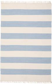Cotton Stripe - Hell Blau Teppich  140X200 Echter Moderner Handgewebter Beige/Hellblau (Baumwolle, Indien)