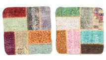 Patchwork Kissenhülle Teppich  50X50 Echter Orientalischer Handgeknüpfter Quadratisch Dunkelbraun/Dunkel Beige (Wolle, Türkei)