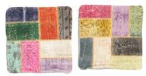Patchwork Kissenhülle Teppich  50X50 Echter Orientalischer Handgeknüpfter Quadratisch Dunkelgrün/Gelb (Wolle, Türkei)