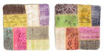 Patchwork Kissenhülle Teppich  50X50 Echter Orientalischer Handgeknüpfter Quadratisch Beige/Gelb (Wolle, Türkei)