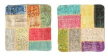 Patchwork Kissenhülle Teppich  50X50 Echter Orientalischer Handgeknüpfter Quadratisch Gelb (Wolle, Türkei)