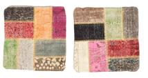 Patchwork Kissenhülle Teppich  50X50 Echter Orientalischer Handgeknüpfter Quadratisch Dunkelbraun/Braun (Wolle, Türkei)