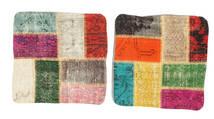 Patchwork Kissenhülle Teppich  50X50 Echter Orientalischer Handgeknüpfter Quadratisch Weiß/Creme/Schwartz (Wolle, Türkei)