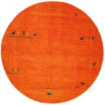 Gabbeh Indisch - Orange Teppich Ø 200 Moderner Rund Rot/Rost/Rot/Weiß/Creme (Wolle, Indien)
