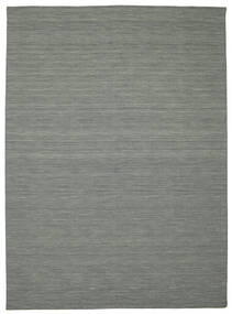 Kelim Loom - Dunkelgrau Teppich  250X350 Echter Moderner Handgewebter Hellgrau/Dunkelgrün Großer (Wolle, Indien)