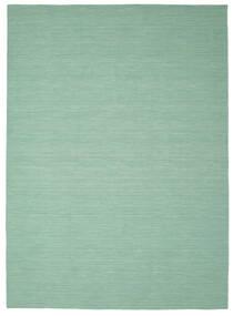 Kelim Loom - Mint Grün Teppich  250X350 Echter Moderner Handgewebter Lindgrün/Türkisblau Großer (Wolle, Indien)